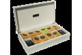 Coffret de présentation de thés 12 cases, laqué matifié de couleur crème
