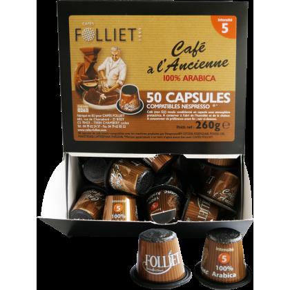 Capsules compatibles Nespresso à l'Ancienne 100% arabica X 50